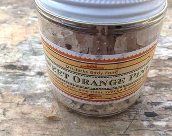 Sea Salt Scrub, Sweet Orange Scrub, Organic, Dead Sea Salt , Exfoliating Scrub , Foot Scrub , 4 oz