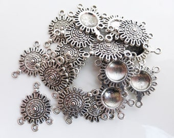 10 x Tibetan Style Silver Links Charms Pendants Findings 27mm x 18mm, Craft Supplies, UK Seller (CPX7008)