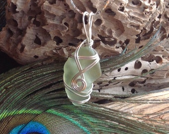 Sea Glass  - Necklace -  Unique Sage Green - wire wrapped jewellery - PEI - Light Pendant necklace - Not Sterling Silver