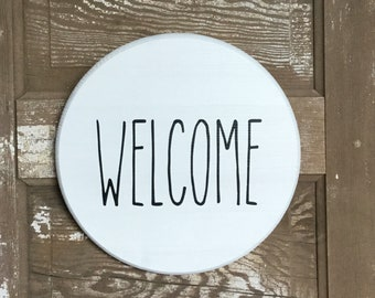 """Decorative 12"""" Welcome White Wood Round Door Decor, Wall Decor, Rae Dunn inspired,"""