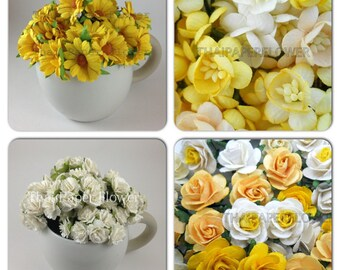 100 Yellow Mixed Roses Daisy Cherry Blossom  and White Carnation Mulberry Paper Flowers Scrapbook Craft Wedding  Set 1- 48