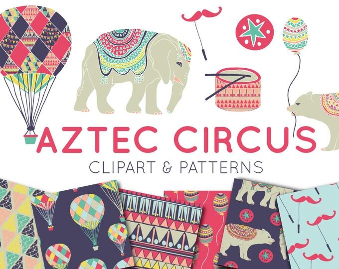 Circus Digital Paper Clipart Pack