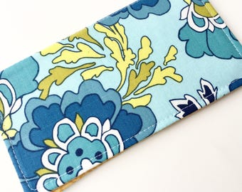 Fabric Checkbook Cover, Checkbook Holder, Checkbook Wallet, Coupon Holder, Organizer, Cute Checkbook- Turquoise Yellow Floral Polka Dots