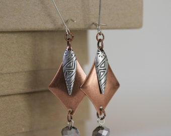 Mixed Metal Antiqued Silver and Copper Dangling Silver Czech Glass  Bead Earrings