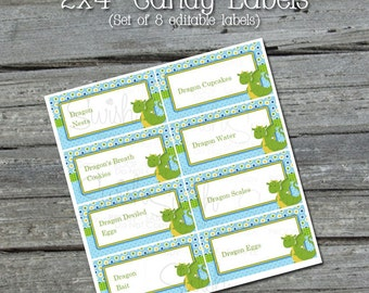 """Baby Dragon Editable 2x4"""" Food Labels - First Birthday - EDITABLE - Instant Download"""