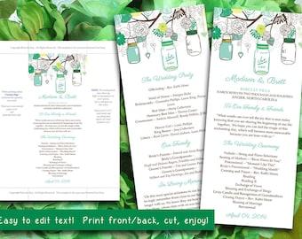 Mason Jar Wedding Program Microsoft Word Template | Irish Spring Mint Green Spearmint Yellow Program | Printable Tea Length Wedding Program