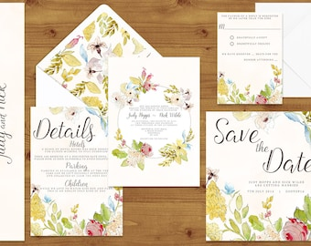 Pastel Watercolour Floral Wedding Invitations Stationery Set - Printed or Digital Download - Vintage Wedding - Wedding Printable