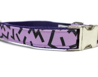 Canvas Dog Collar | Metal Buckle Dog Collar | Purple Dog Collar | Girl Dog Collar | Geometric Dog Collar | Retro Dog Collar