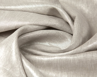Linen Fabric By the yard Metallic Glimmer Silver on Flax