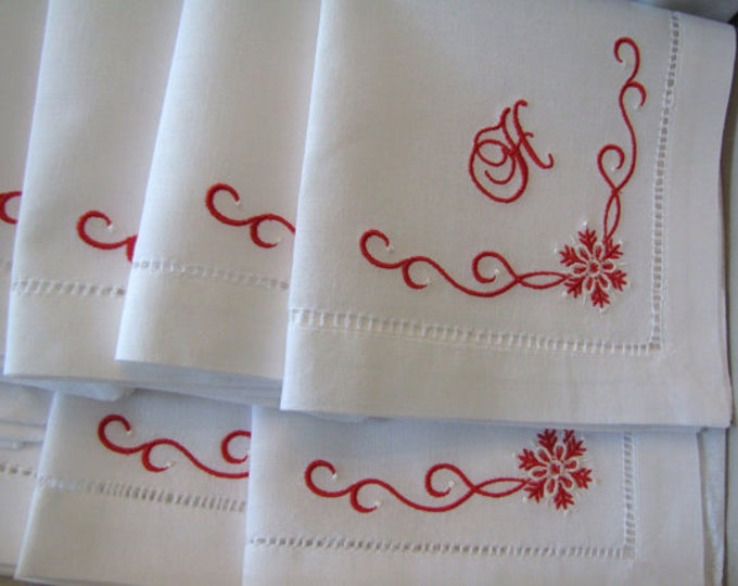 Set of six LINEN snowflake winter themed monogrammed hemstitched luncheon napkins