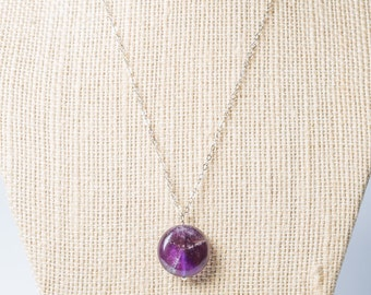 Long Purple Amethyst round pendant sterling silver necklace, birthstone, semiprecious