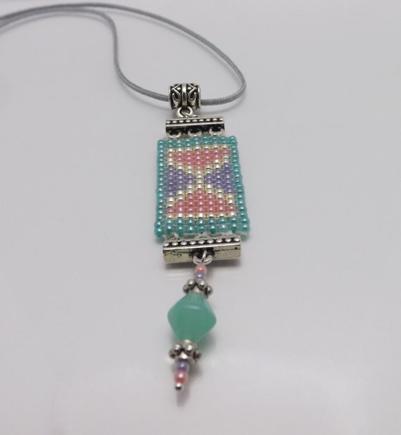 Seed Beaded Pendant in Aqua - Lavender - Peach seed bead -17 1/2 inches long-3 inch extender SKU: NK1001