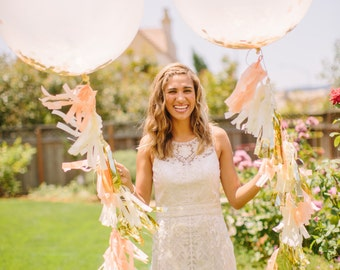 Peach, Ivory and Gold Jumbo Confetti Balloon with Tassels - As Seen on Wedding Chicks