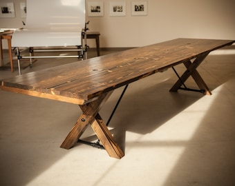 Solid Wood Conference Table  | Unique Conference Table | Trestle Table | Built to Order | Rustic Boardroom | Trestle Base