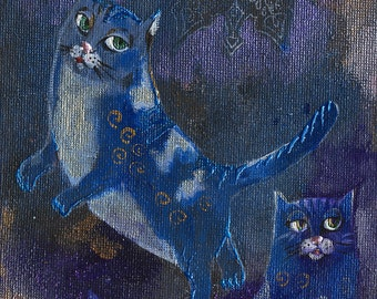Katze, Katzen, Illustration, Kitty, Kätzchen, Original Acrylgemälde an Bord