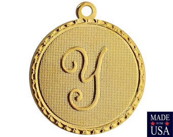 Gold Plated Letter Y Initial Charm Drop with Loop (1) chr215Y