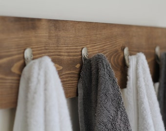Rustic Wooden Towel Rack, Towel Rack, Towel Hooks, Rustic Bathroom Decor, Bathroom Rack, Bathroom Decor, Wooden Towel Rack, Gifts for Him