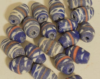 Beads Sandcast Blue White Red Glass African Beads 22mm