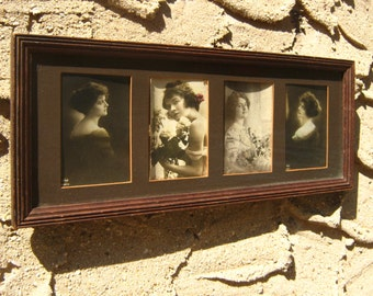 1920's Portrait Sepia Photographs All Original 4 Framed Photos Woman Daughter Fashion Back Thennish Vintage