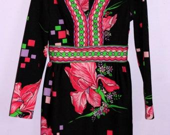 70s brilliant graphic mini dress small extra