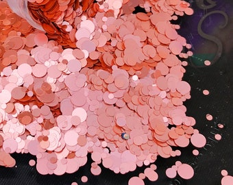 "NEW Rose Gold ""Matte Metallic"" Glitter Mix, Perfect For Resin, Nail Art and Scrapbook Round Dot Rose gold Glitter"