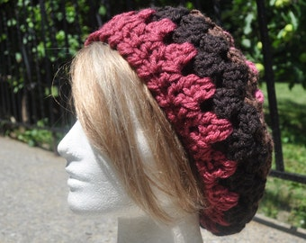 Retro Granny Square Hat - Brown and Pink Crocheted Beret - Women's Hat - Pink and brown Hat