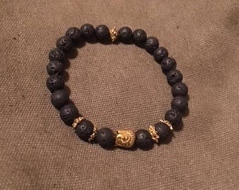 Gold Buddha Head Lava Stone Bracelet