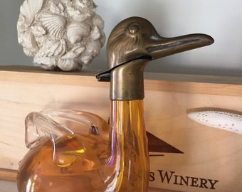 1930's Austrian Bohemian Amber Colored Glass and Brass Duck Decanter Marked Austria | Appraised with Antiques Roadshow