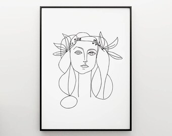 Picasso François sketch, woman drawing, Art and collectibles, Line illustration, Minimalist Print, Picasso Girl in Black and White