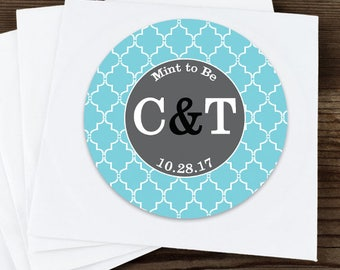 Thank You Custom Labels - Personalized Stickers - Round Stickers - Quatrefoil  - Wedding Decor - Bridal Shower Decor - Initials - Mint to Be