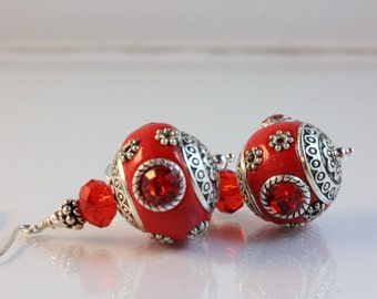 Red Kashmiri Bead, Crystal, and Sterling Silver Earrings