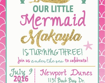 Our little Mermaid Birthday Invitation