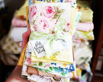 Vintage Sheet Scraps / 12 Ounces / Scrap Pack / Quilting Fabrics