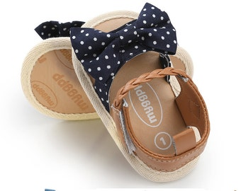 Shoes baby girl pink blush faux leather and blue polka dot 6 months