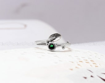 Color cubic zirconia Leaf 925 sterling silver Ring, Vintage branch 925 silver jewelry