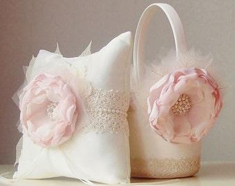 Flower Girl Basket, Vintage Wedding, Blush Flower Girl Basket, Blush Wedding Basket, Flower Girl Gift, Lace Basket