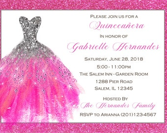 Quinceanera Invitation  (Digital File) / Sweet 16 Invitation, Pink Sparkle Quinceanera Invitation, Pink Quinceanera, Pink Sweet Sixteen