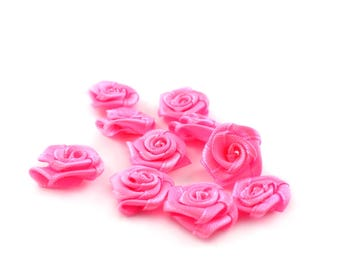 10 small 15 mm Rose satin flowers