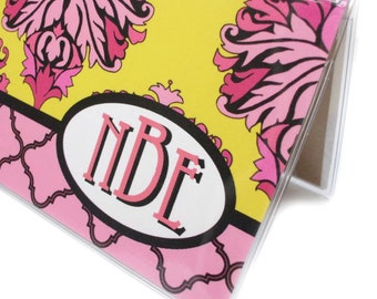 Personalized checkbook cover - Pink Lemonade - Damask - monogram checkbook holder, customized initials, pink yellow, side tear or top tear