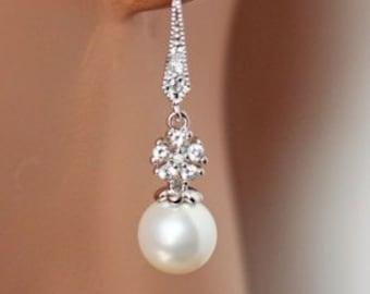 SET OF 5 - Pearl Drop Cubic Zirconia Earrings, Rhinestone Dangle Pearl Earrings, Wedding Earrings