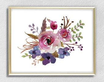 Watercolor bouquet roses flowers print poster decor home decor wall art print purple watercolor flowers printable