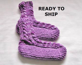 Violet Womens Slippers Bedsocks, Hand Knitted Pretty Purples, Ladies Size 8 - 8.5
