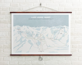 Lake Louise Ski Trial Map, Banff Canada, Ski Map, Ski Art,  Snowboard Art, Ski Gifts, Gifts for him or her