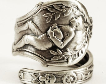 Rugby Gift, Sterling Silver Spoon Ring, Football Ring, Masonic Ring, Secret Society, Freemason Adjustable Ring Size, Rugby Mom, Sports 1925
