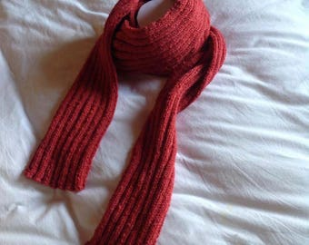 Red brick hand-knitted scarf