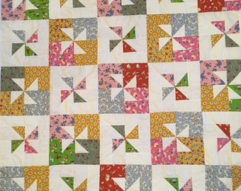 Vintage inspired baby quilt lap quilt or throw.