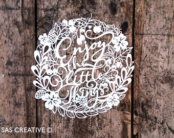 Papercut Template 'Enjoy the Little Things' Autumn Themed PDF JPEG for handcutting & SVG file for Silhouette Cameo or Cricut