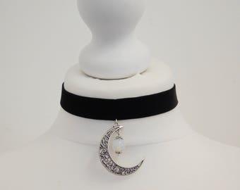 Black Velvet Celestial Half Moon Moonstone Choker Necklace Pagan Wicca