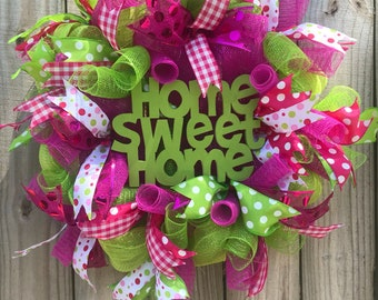 Spring Deco mesh wreath Home sweet home with pink green polka dots