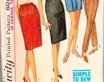 "1960's Vintage Sewing Pattern Ladies' Maternity Skirts, Pants and Shorts Simplicity 6061 24"" Waist- Free Pattern Grading E-book Included"